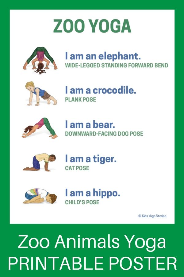 graphic regarding Printable Yoga Poses for Preschoolers titled 5 Zoo Yoga Poses for Children (Printable Poster P.E. Animal