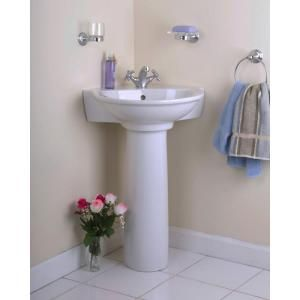 Pegasus Evolution Corner Pedestal Combo Bathroom Sink In White