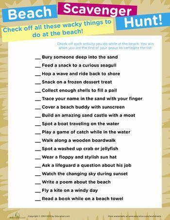 Beach Scavenger Hunt Worksheet Education Com Beach Scavenger Hunt Beach Fun Beach Activities