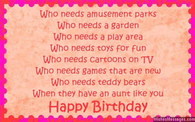 Strange Birthday Poems For Aunt With Images Birthday Wishes For Aunt Personalised Birthday Cards Veneteletsinfo