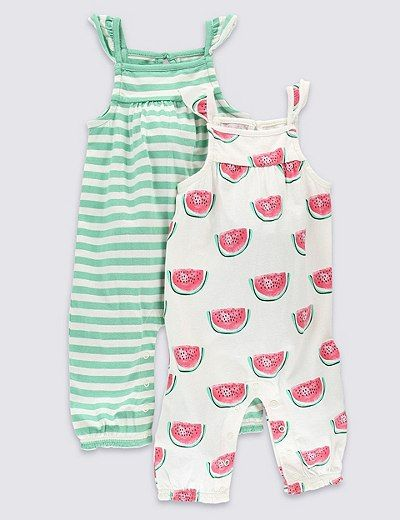 530428e9a71f6 2 Pack Pure Cotton Fruit Rompers