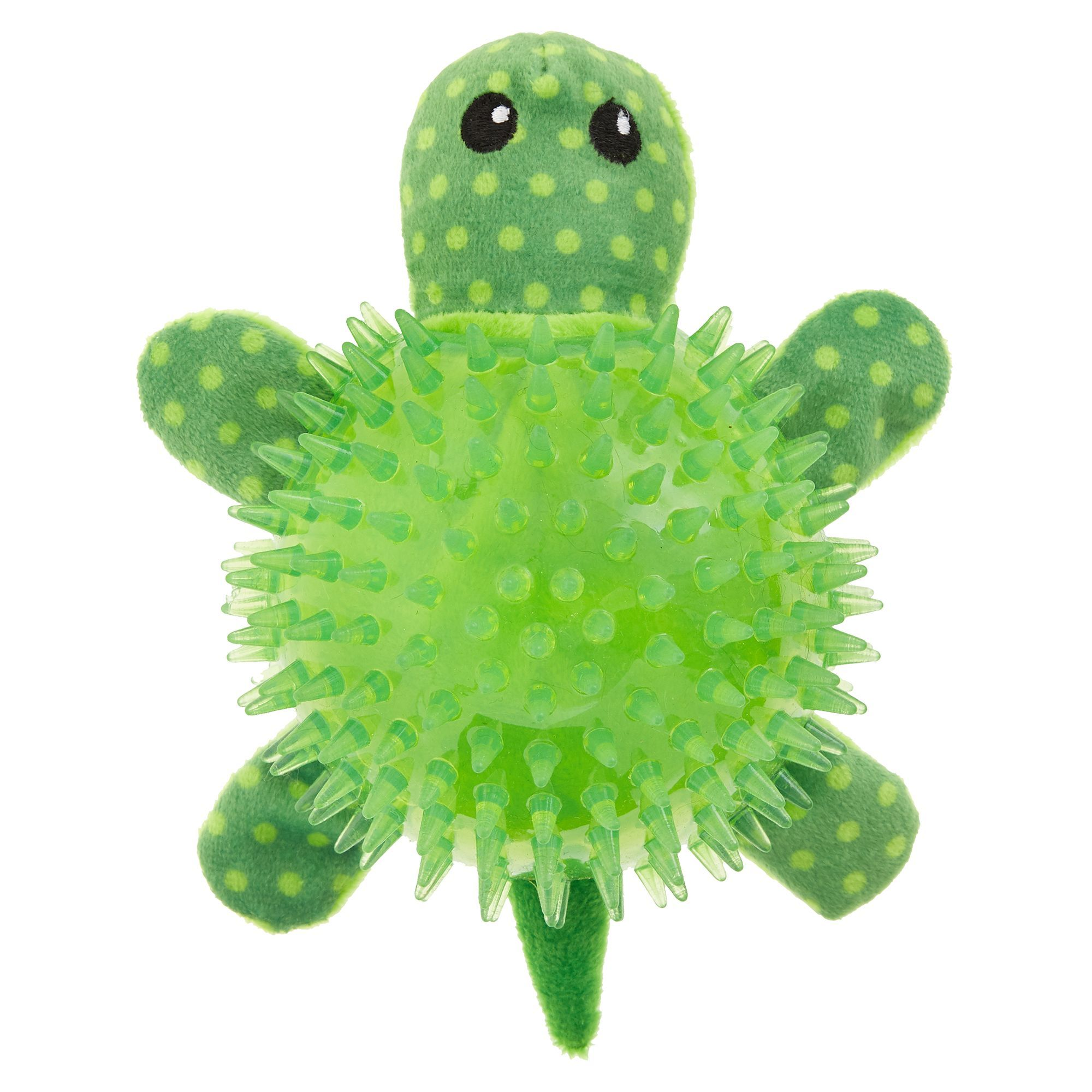 Top Paw Spiked Turtle Dog Toy Plush Squeaker Plush Dog Toys