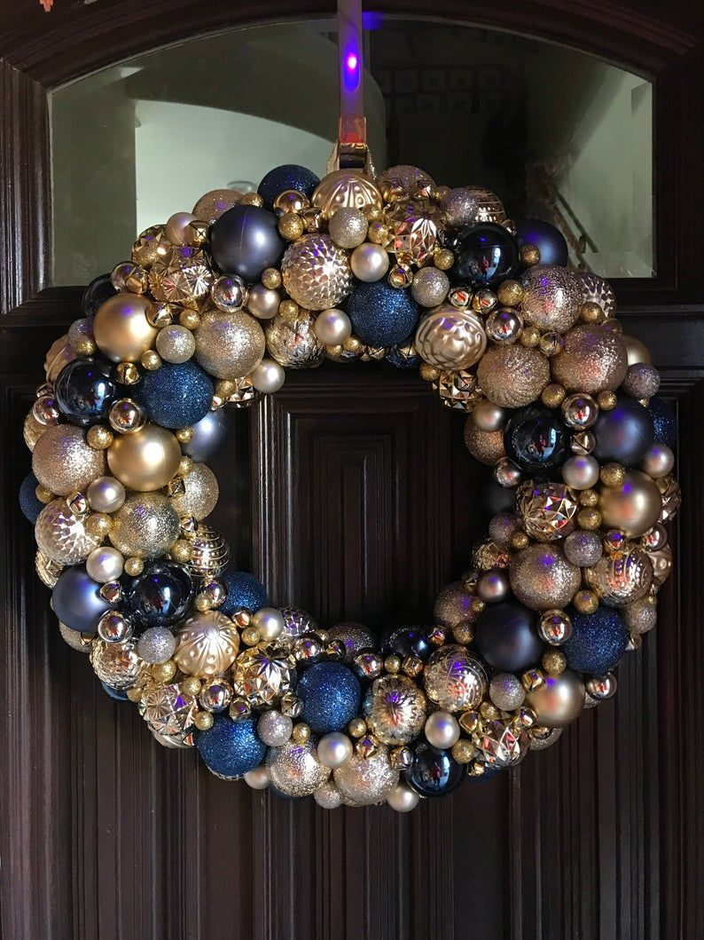 Gorgeous Navy And Gold Ornament Christmas Wreath Bauble Etsy In 2020 Bauble Wreath Holiday Wreaths Christmas Wreaths