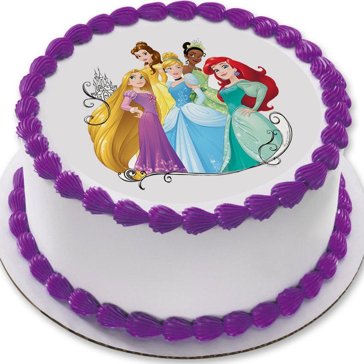 Personalised Disney Princesses edible printed  icing Round Cake Topper Pre-Cut