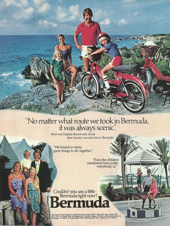Bermuda Islands Travel and Tourism Original 1982 Vintage Print Ad Color Vacation Photos Brad and Daphne Barton Family; on Puch Mopeds