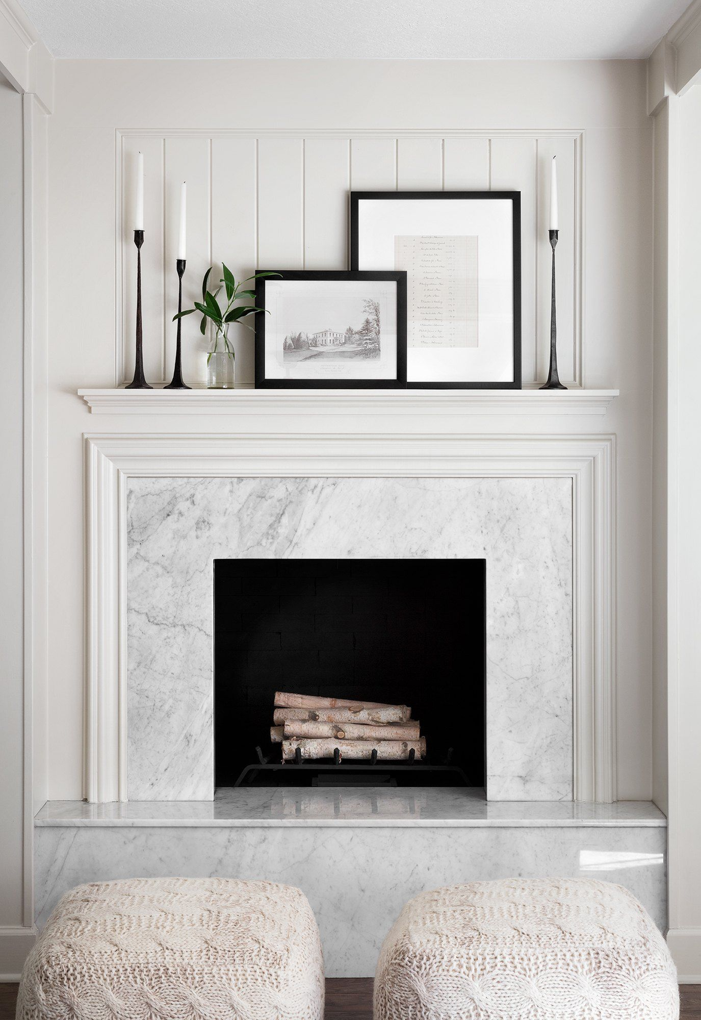 This fireplace is one of my favorite features of the sandvalls home the crisp clean lines of the monochromatic texture combined with the coffered ceiling