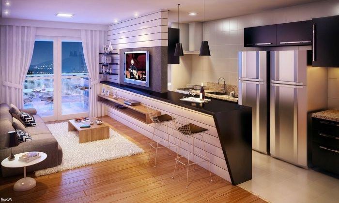 ▷ 1001 + conseils et idées pour une cuisine ouverte sur le salon - Table De Cuisine Avec Plan De Travail
