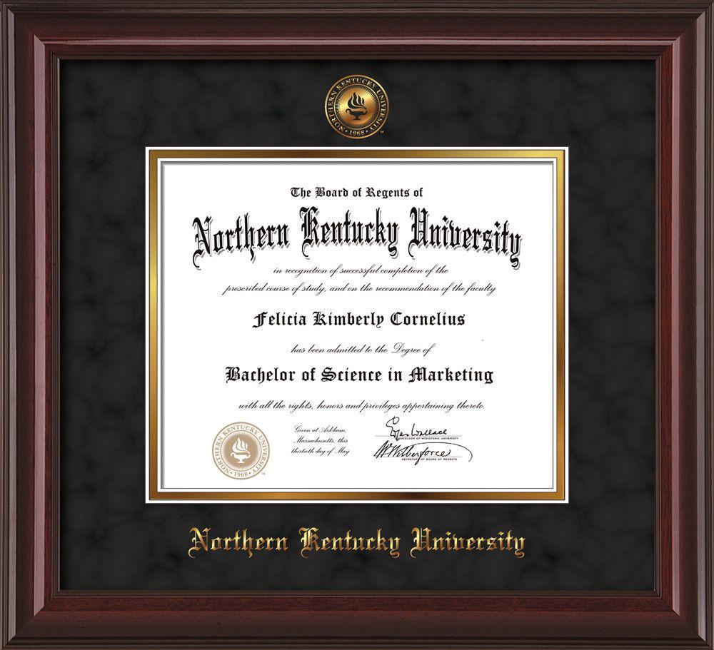 Northern Kentucky U Diploma Frame-Mah Lacquer-w/NKU Seal-Black Suede ...