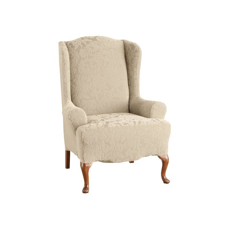 Sure Fit 39613 1 Peice Stretch Jacquard Damask Wing Chair Slip Cover, Oyster