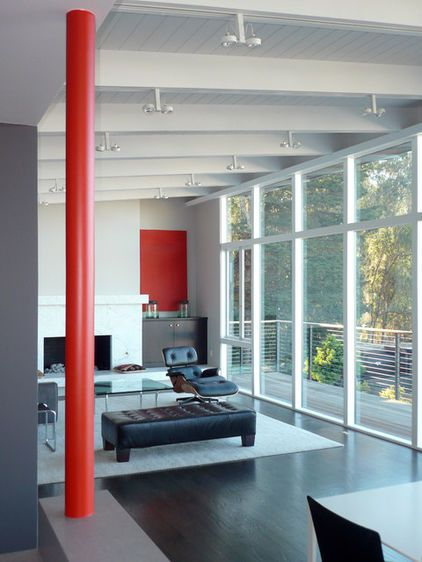 See how selective splashes of color can emphasize architecture and activity areas throughout a modern-style home
