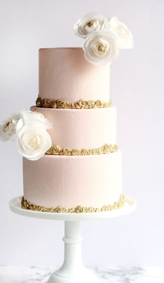 Three Tier Blush And Gold Wedding Cake Wedding Cakes