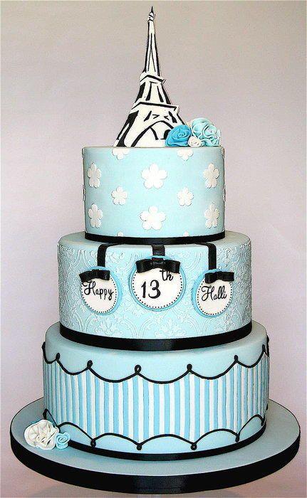 Paris Themed Birthday Cake Like The Writing On Separate Fondant - Birthday cake paris