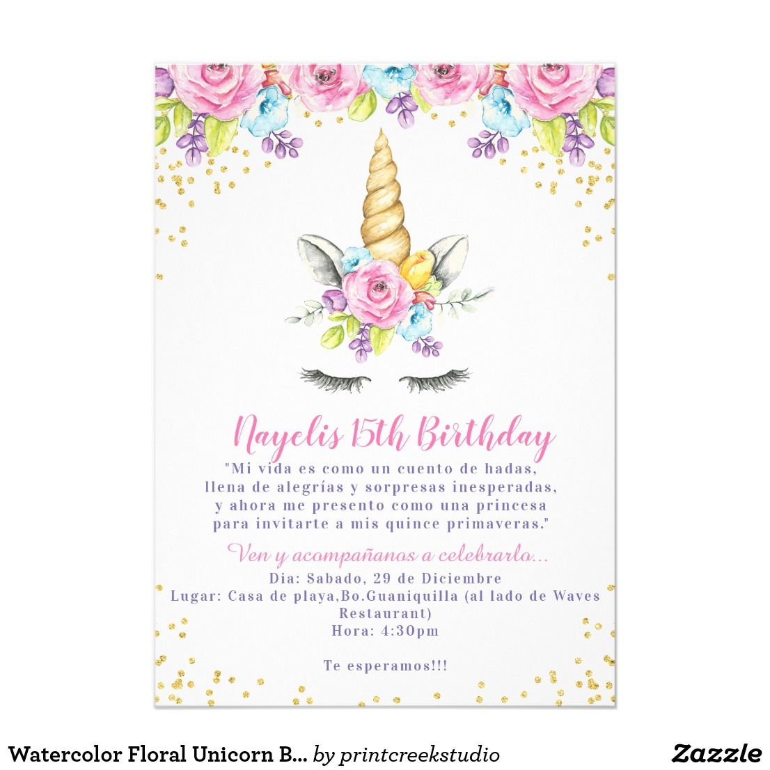 Watercolor Floral Unicorn Baby Shower Invitations Zuly Unicorn
