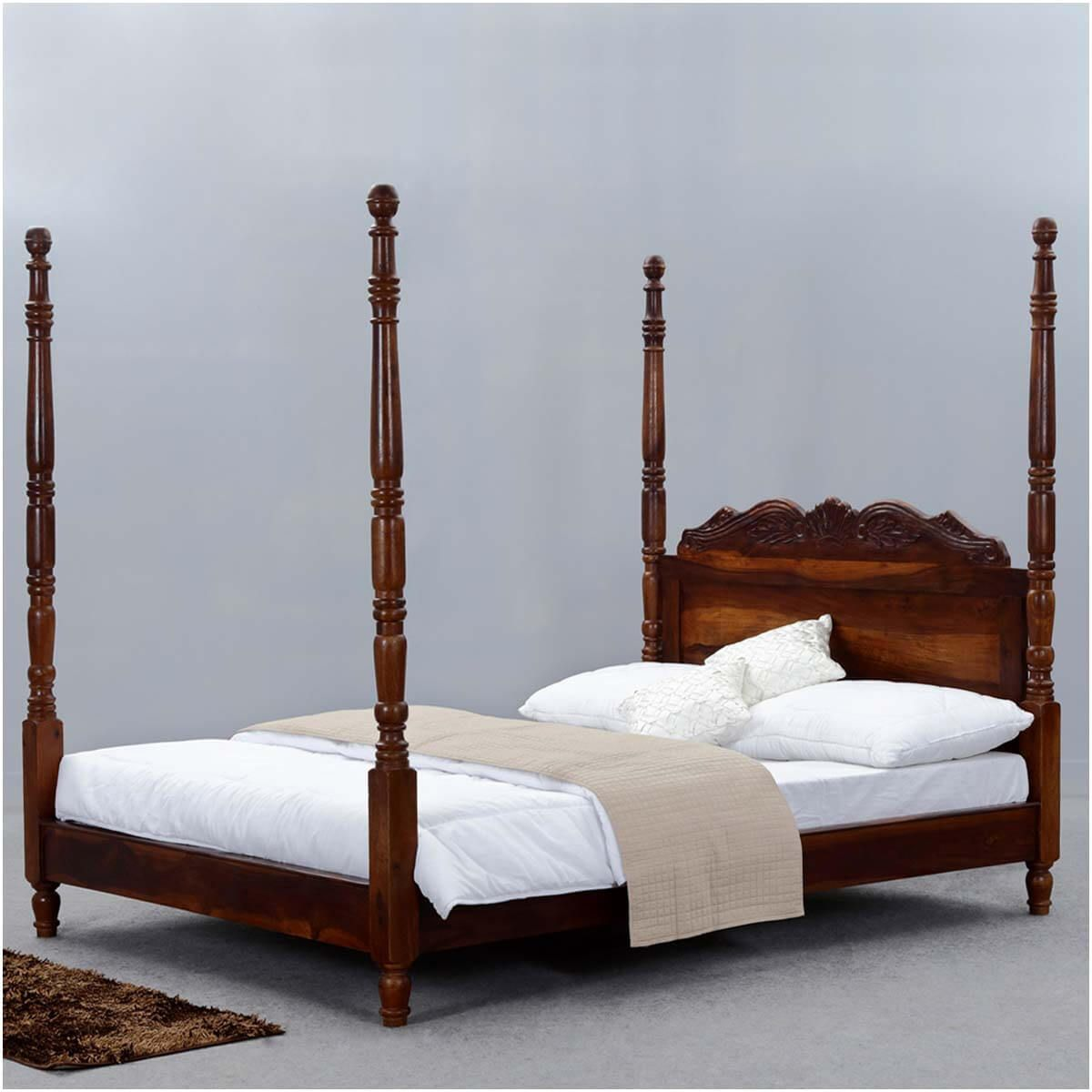 huge selection of 7594d b497a Queen Anne Solid Wood Four Poster Platform Bed Frame w ...