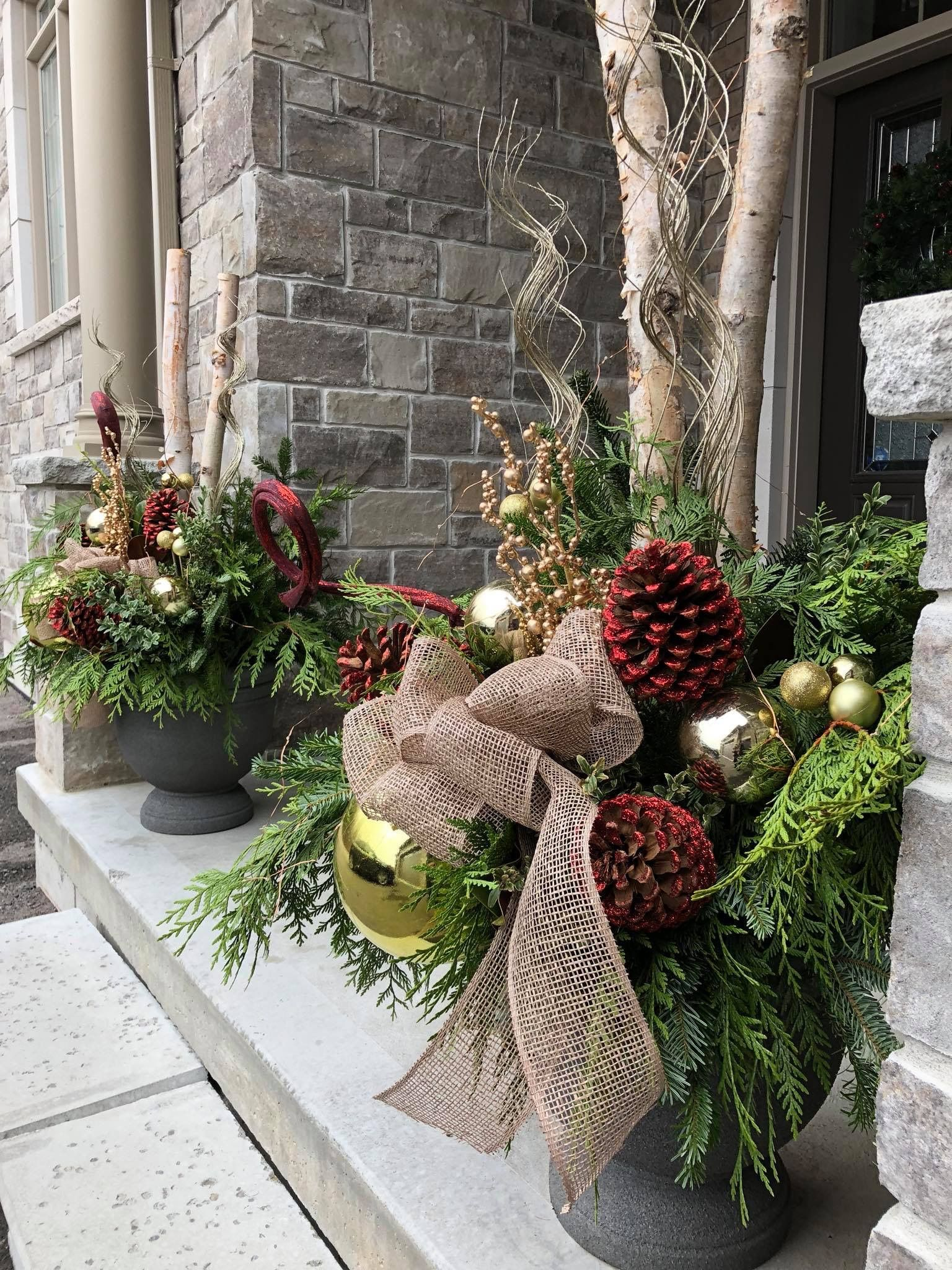 Christmas Planters, Christmas Porch, Christmas 2014, Winter Porch, Door  Decs, Outdoor Planters, Xmas Ideas, Holiday Ideas, Church Ideas