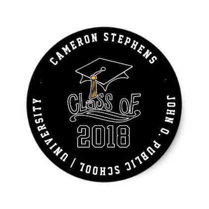 Class of 2018 graduation cap name school classic round sticker craft supplies diy custom design supply special