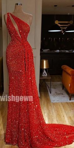 One Shoulder Red Sexy Sparkle Long Prom Dresses PG1120
