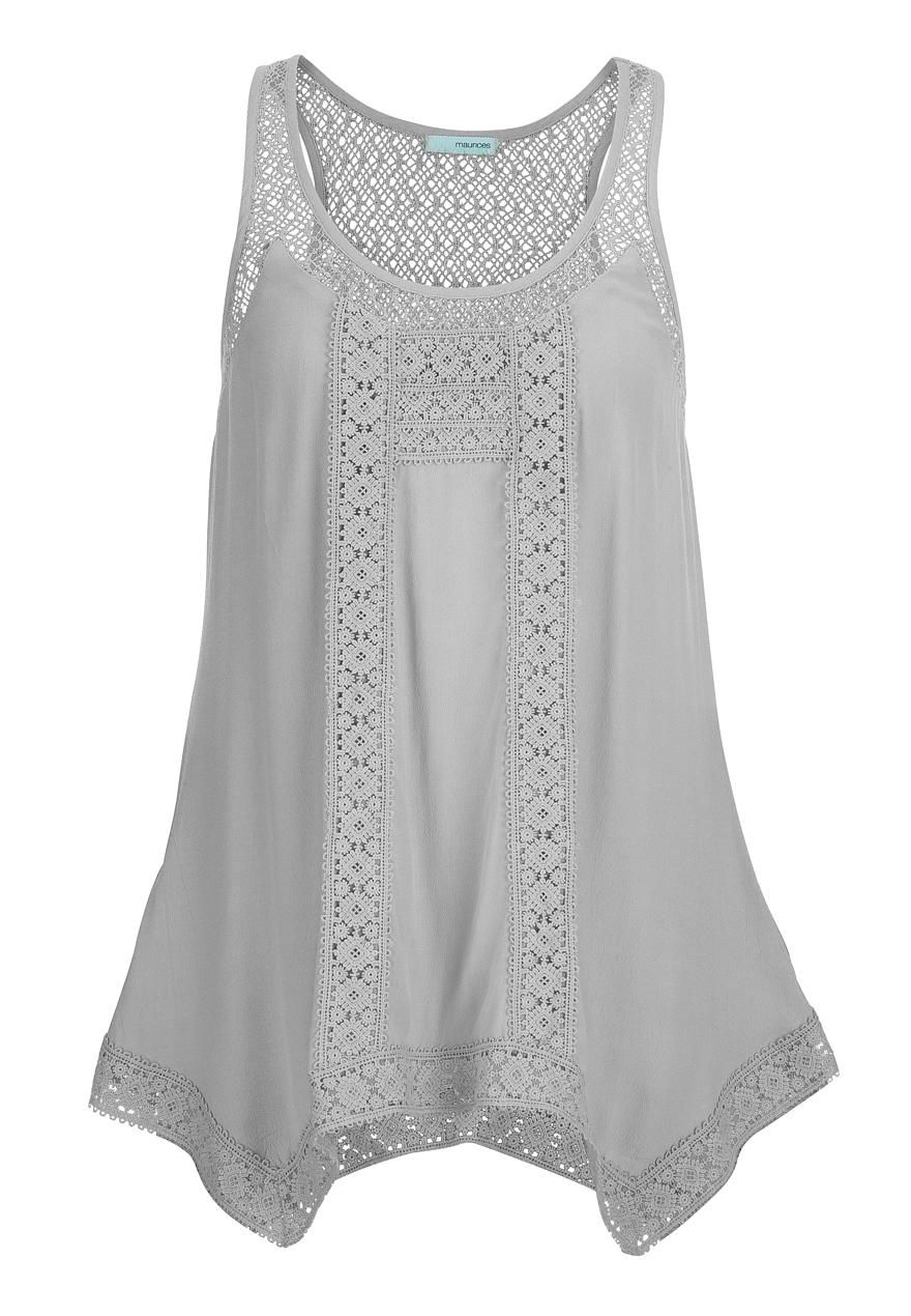 sleeveless top with lace and hanky hem - maurices.com