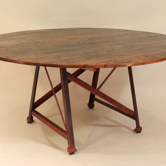 Steve Staples Custom Made Rt Round Table With Metal Factory - Staples round table