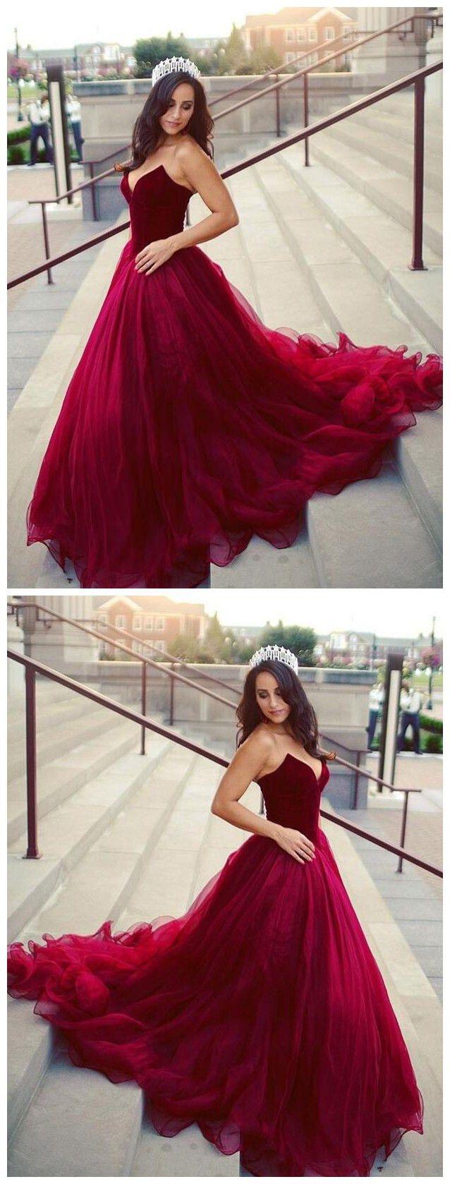 Burgundy prom dress strapless tulle graduacion elegant long prom
