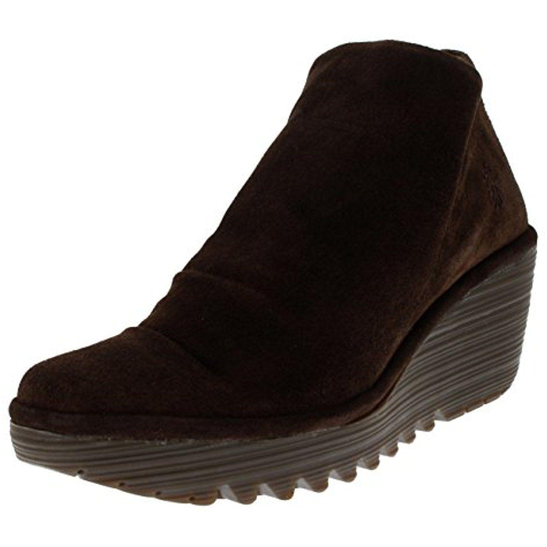 Womens Yip Platform Oil Suede Wedge Heel Ankle Boot Mid Heels