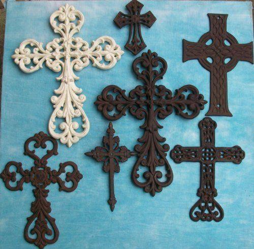 7 PC Decorative Wall Crosses Rustic Christian Western Church ...