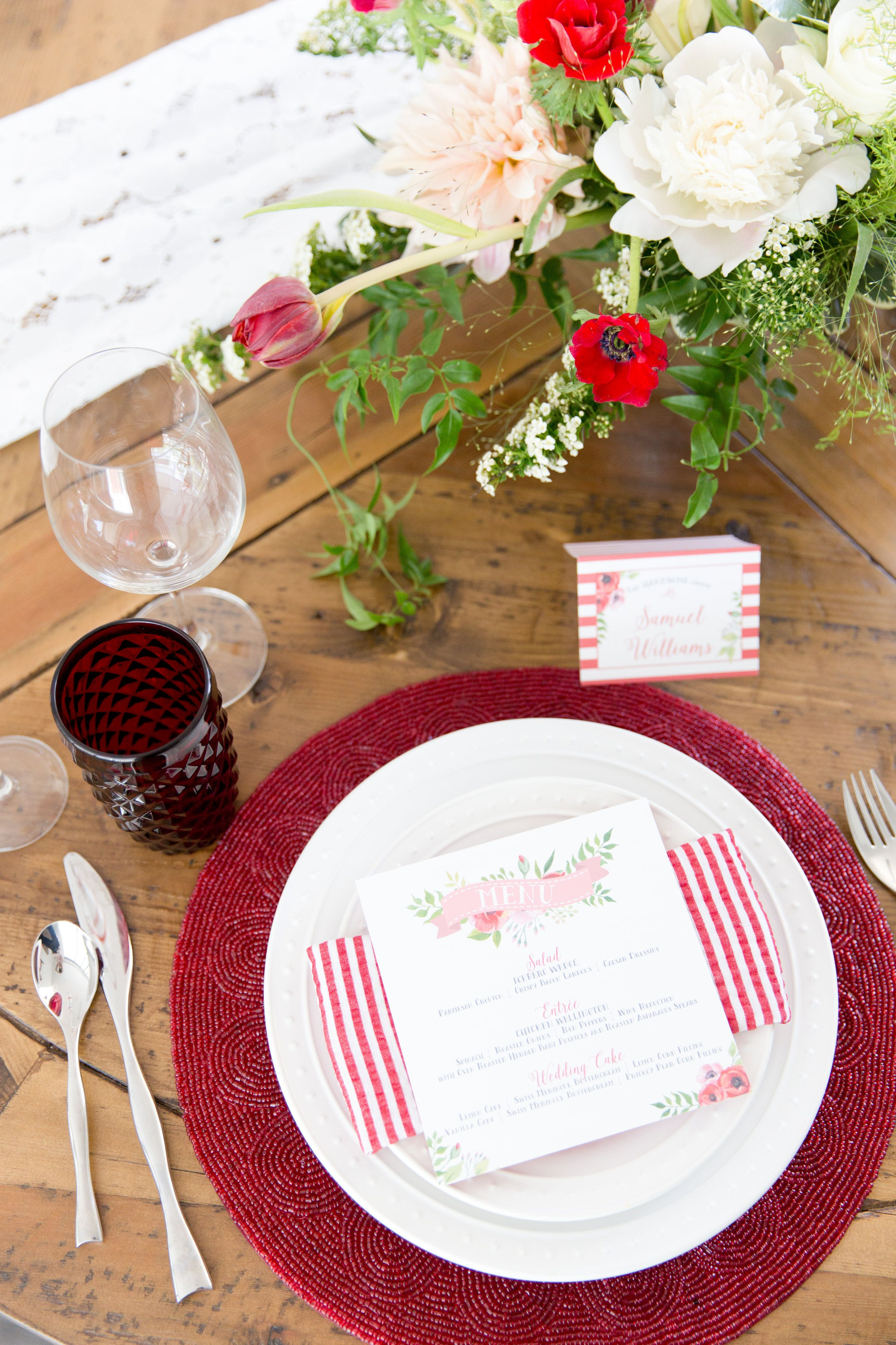 Red beaded placement with classic white dinnerware. & Red beaded placement with classic white dinnerware. | Tabletops ...