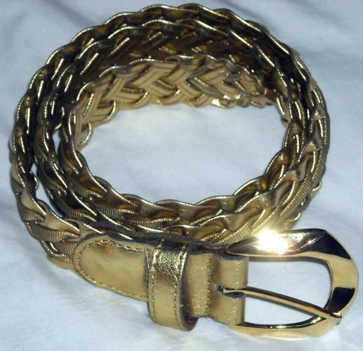 Woven Gold Belt with Buckle Size SM Up to 34