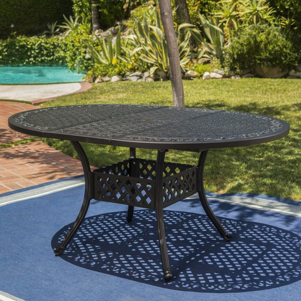 Stannis Outdoor Expandable Aluminum Dining Table Patio Furniture