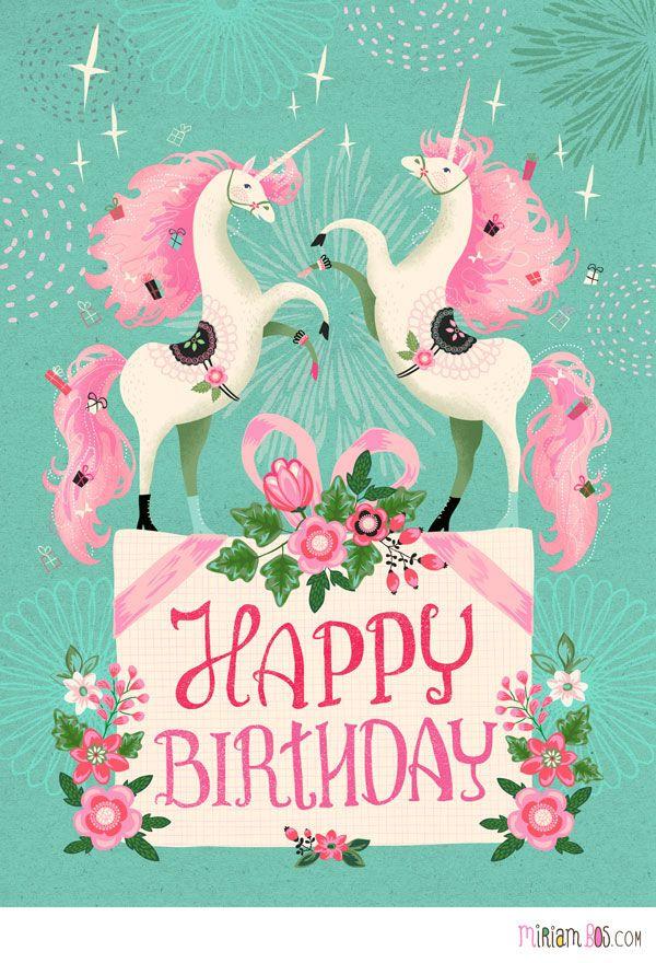 Prancing Unicorns Happy Birthday Cards Happy Birthday Greetings Birthday Greetings
