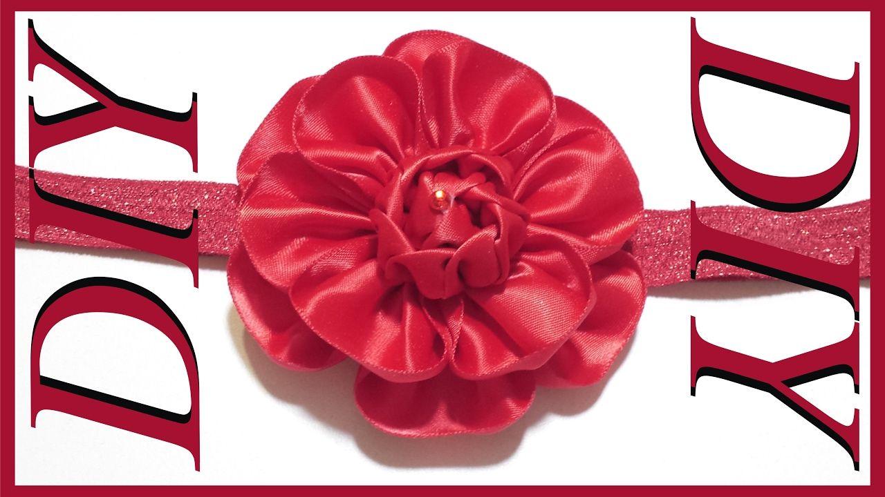 Como hacer lazos #47 Flor con cinta santinada