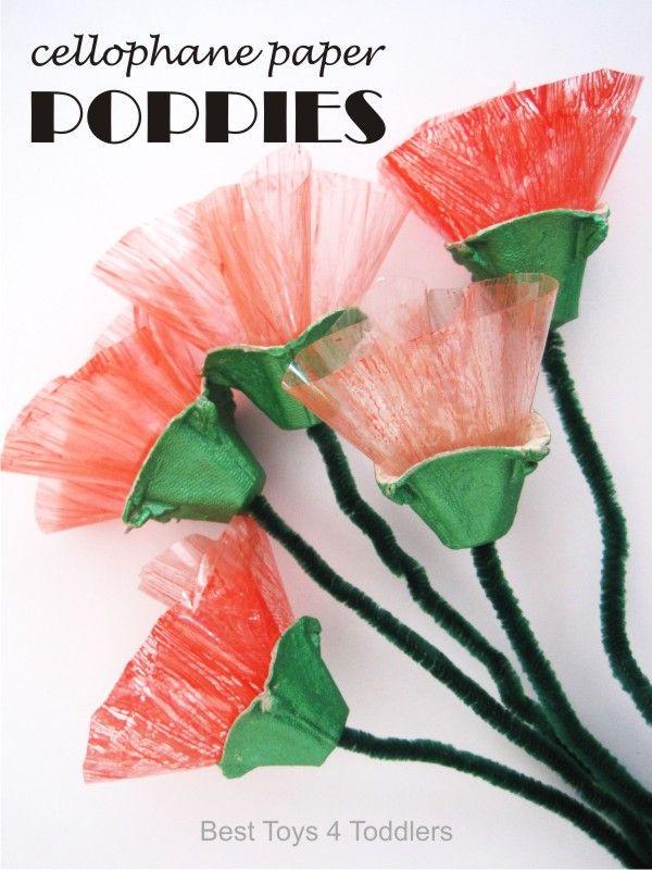 Cellophane Paper Poppies Poppy Craft For Kids Flower