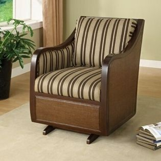 Powell Brown Tan Striped Glider Rocker Home Decor
