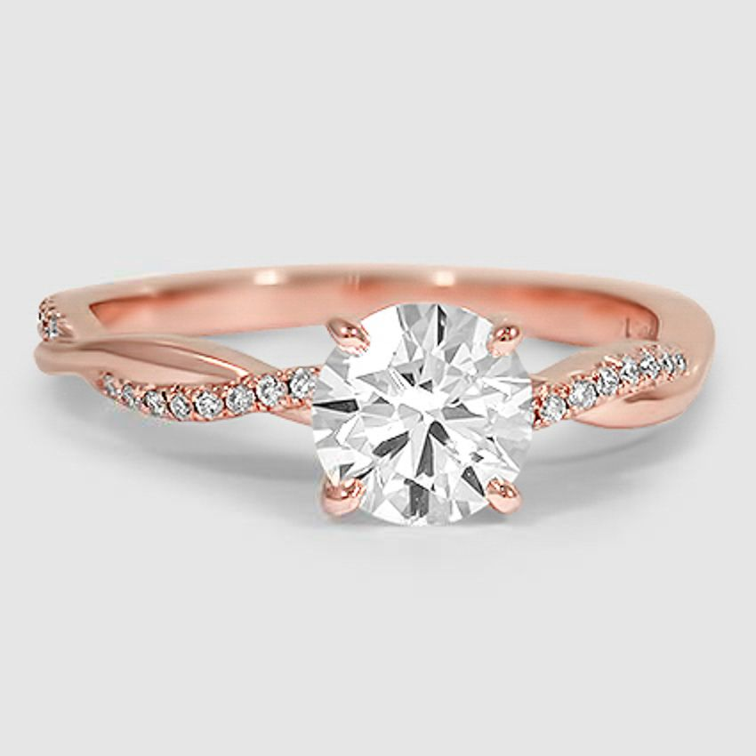 5 Green Wedding Decorations That Will Leave You Speechless: 14K Rose Gold Petite Twisted Vine Diamond Ring (1/8 Ct. Tw