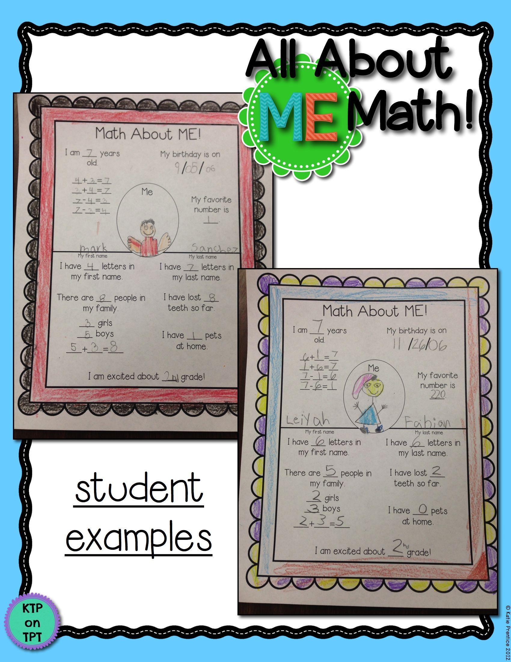 All About Me Math- worksheet and poster- fun for any primary classroom!!!  $3   All about me maths [ 2200 x 1700 Pixel ]