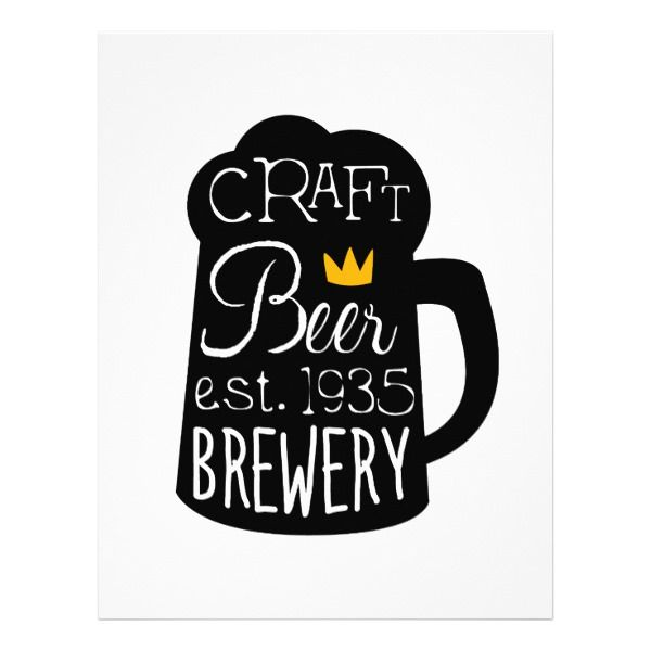 Craft Beer Logo Design Template With Pint Silhouet Letterhead - office supply template