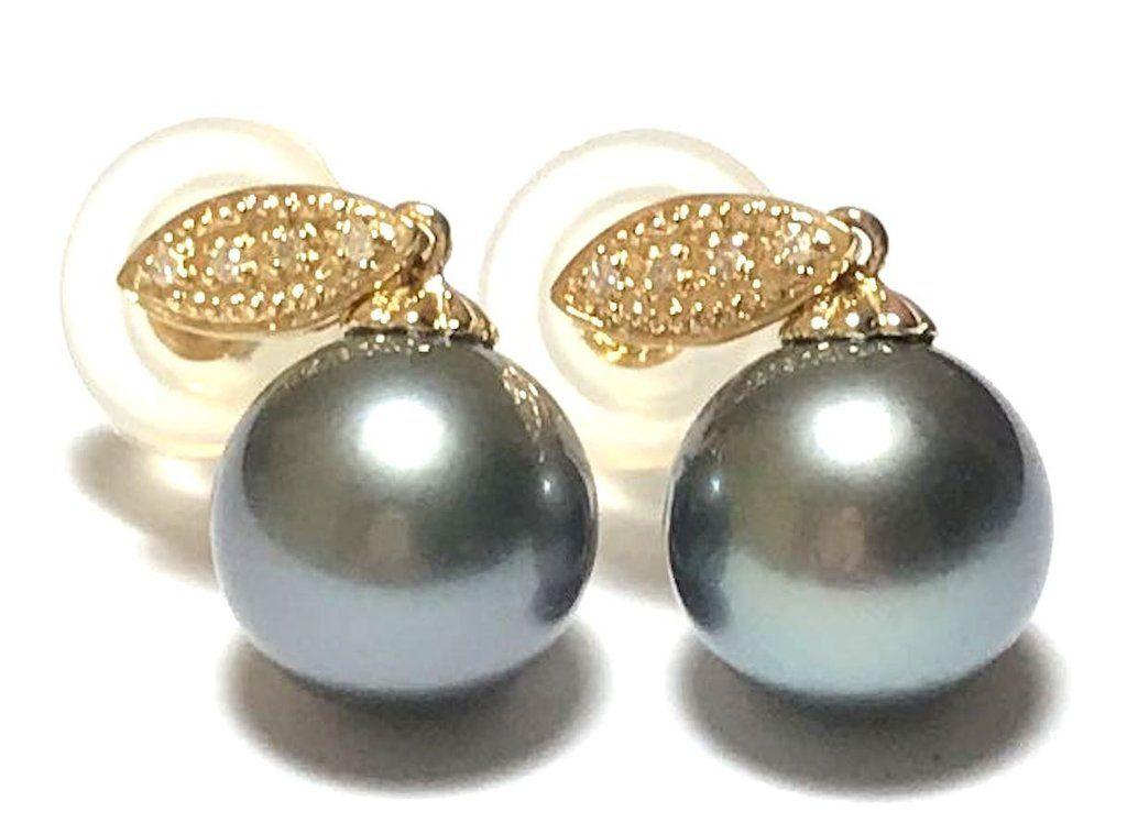 20d0eeca7 Unique Diamond 14K & 18K Yellow Gold Tahitian Sea 11mm Pearl Earrings