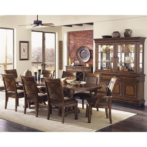 Legacy Classic Larkspur Trestle Table & Upholstered Chair Set Classy Dining Room Upholstered Chairs Inspiration Design
