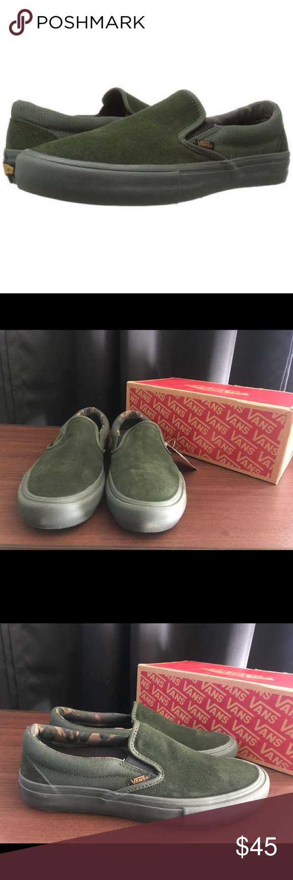 847b16ee2bdcd Vans Slip-On Pro Vans Slip-On Pro Camo/Rosin/Green Shoes are Unisex, the  box has the Mens size on it. Vans Shoes
