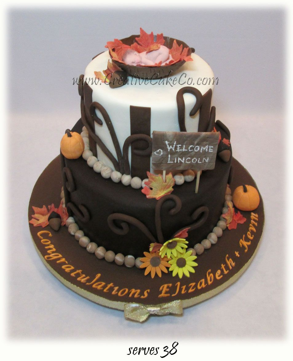 Charming Fall Themed Baby Shower Cakes Part - 7: 2 Tier Autumn Themed Baby Shower Cake By Creative Cake Co., Inspiration  Taken From