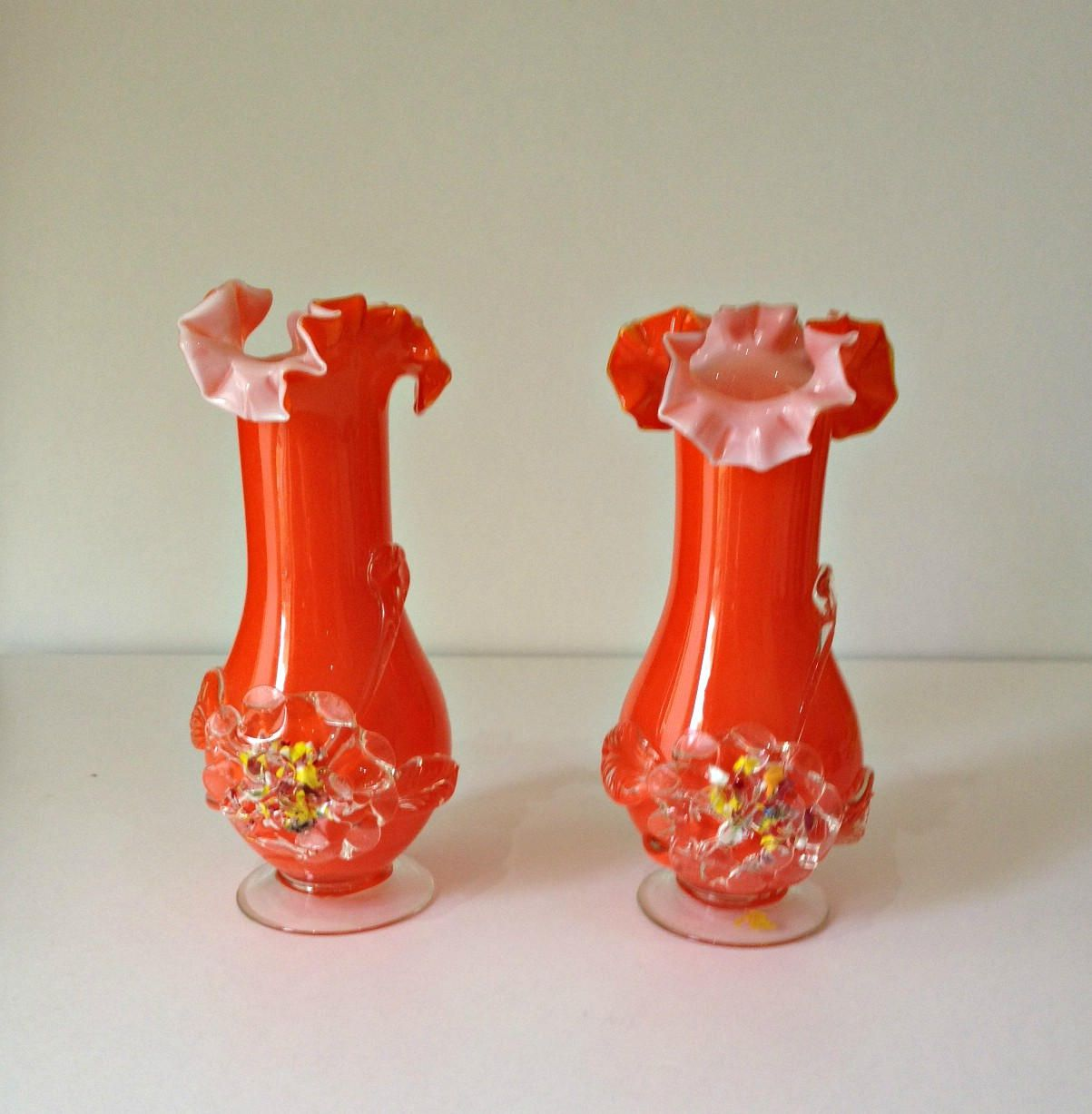 Vintage 1950s vases pair of orange italian glass vases vintage 1950s vases pair of orange italian glass vases decorative vases hand blown reviewsmspy