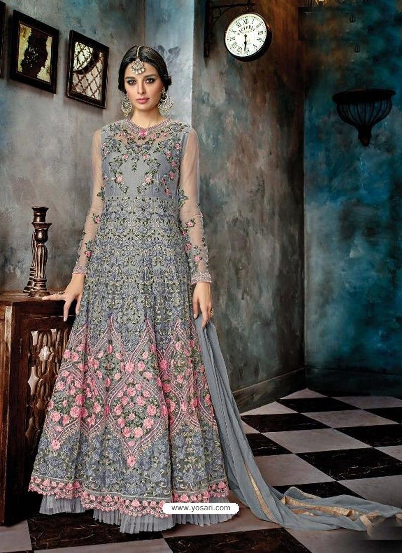 5888c09070 Grey Butterfly Net Heavy Embroidered Designer Anarkali Suit in 2019 ...