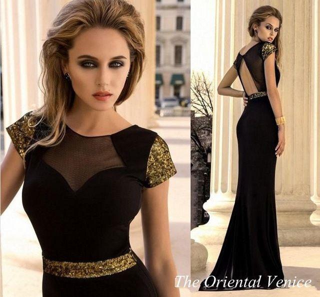 Negro oro lentejuela vestido de noche con manga corta y espalda