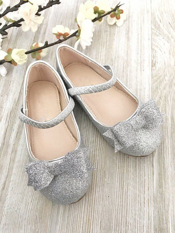 a8d447f8dc6ee SILVER Fine Glitter Mary Jane Flats with Glitter Tuxedo Bow | Flower ...