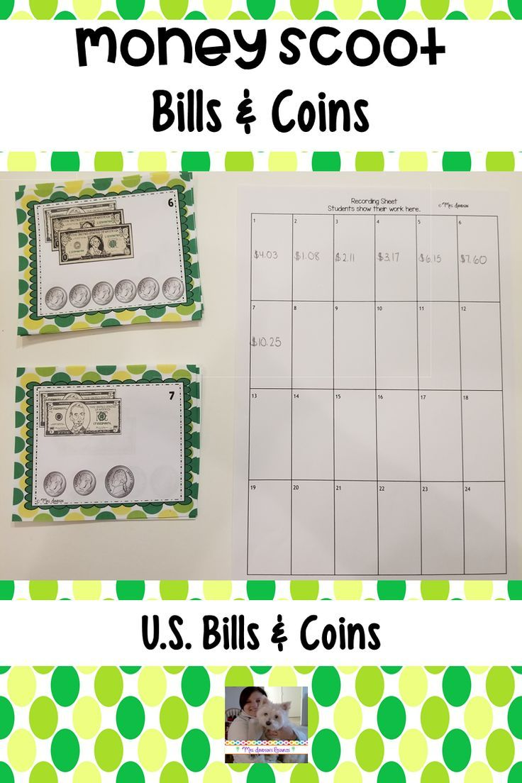 Money Scoot Bills and Coins | Counting coins, Elementary math and ...