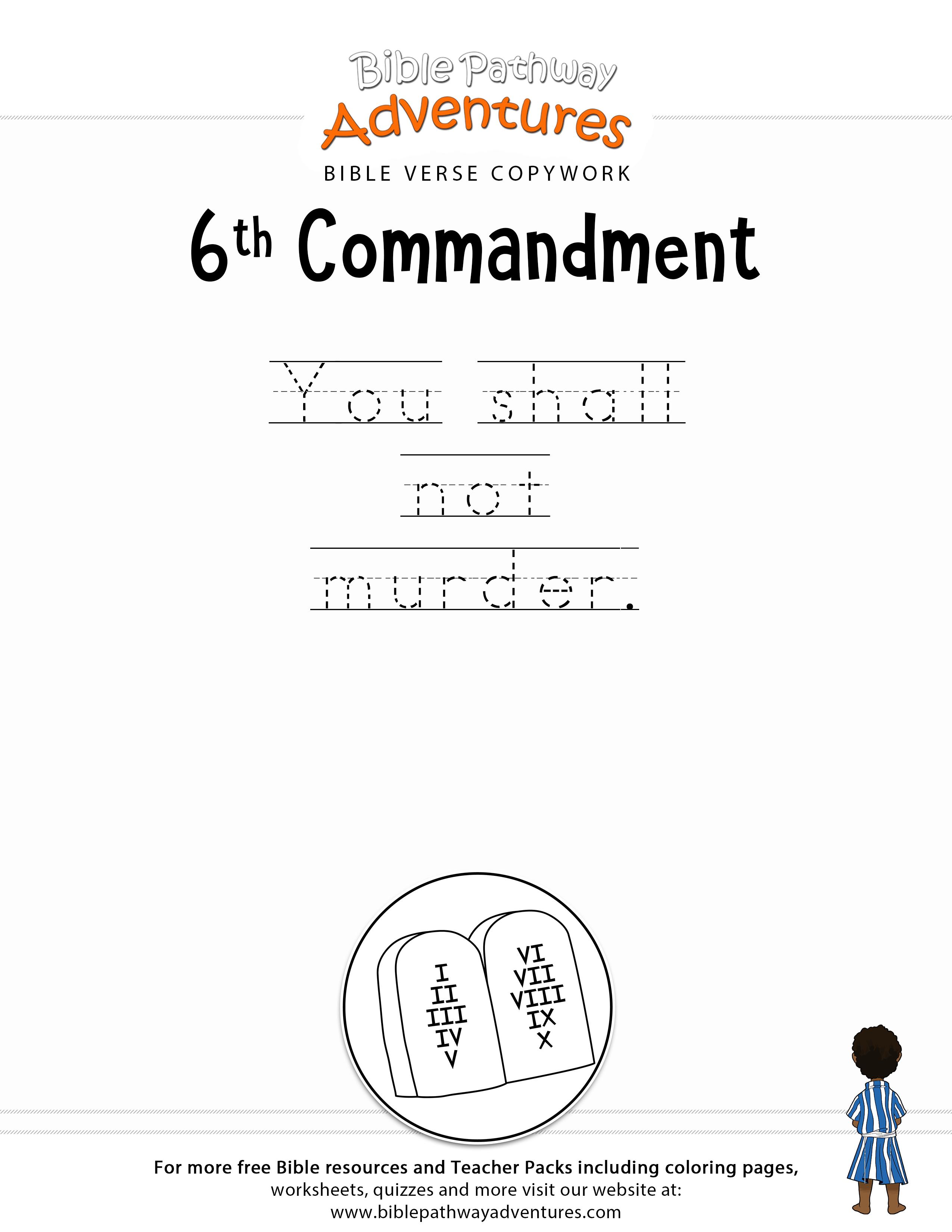 Ten Commandments Copywork 6th Commandment