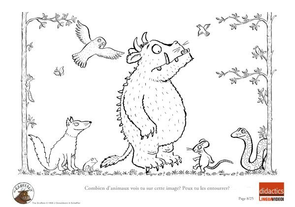 Gruffalo Colouring Sheets Printable The Educators Spin On It Where Will You Explore With The Jpg 599 422 The Gruffalo Gruffalo Activities Colouring Pages