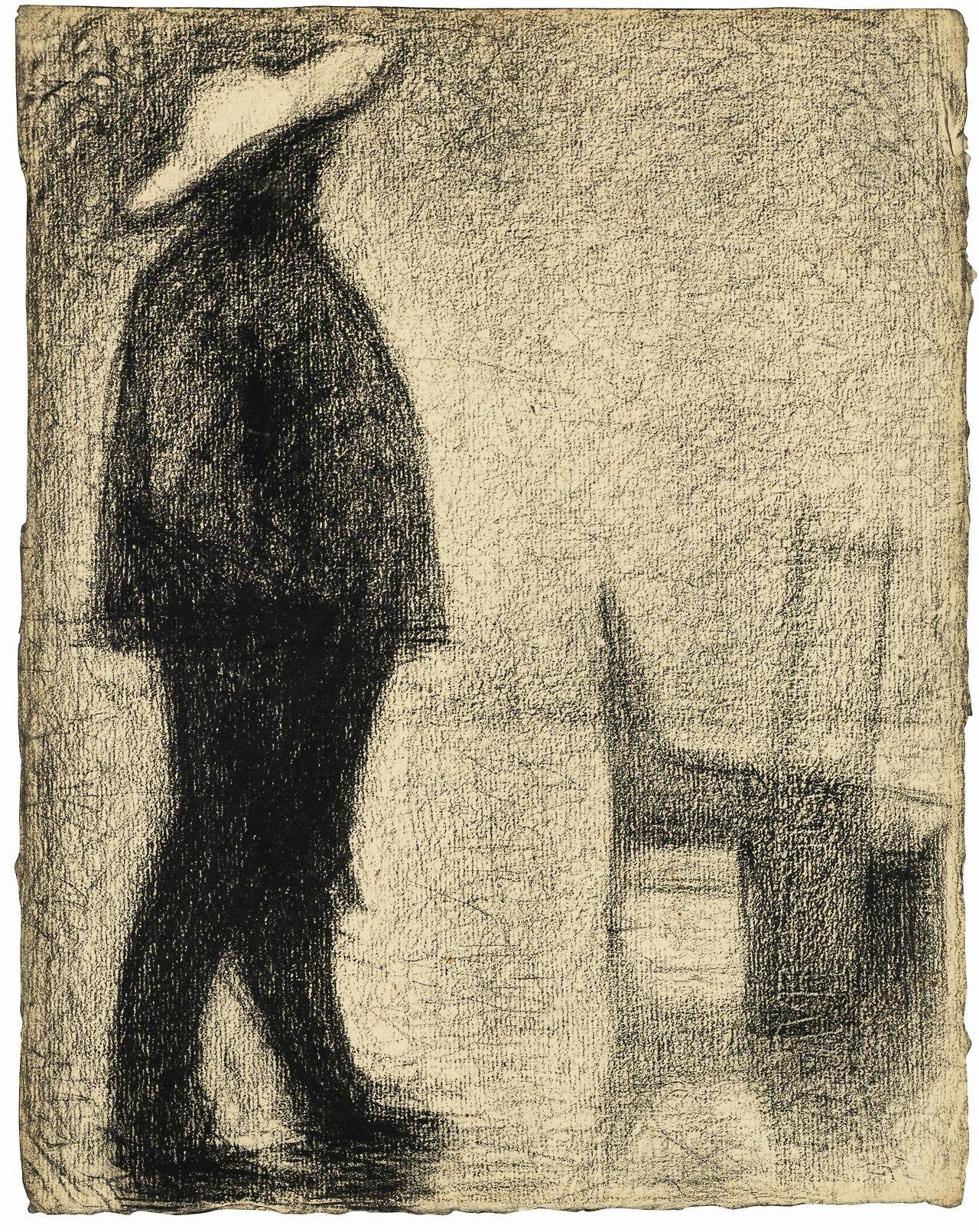 Georges Seurat (French, 1859-1891), Fort de la halle, c.1882. Conté crayon on laid paper, 32 x 25.5 cm.