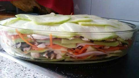 Lasaña de verduras antes de ir al horno