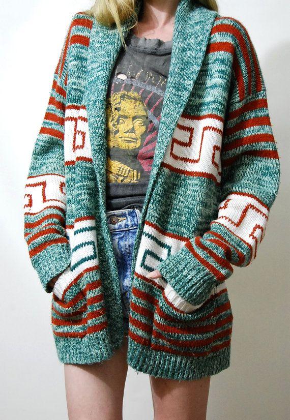 c8f97dae8 Tribal Cardigan 70s Vintage AZTEC Jacket Space Dye Knit Sweater ...